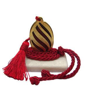 489.3025 - Διακοσμητική Πέτρα 7cm x 5cm, Αυγό Με Φούντα