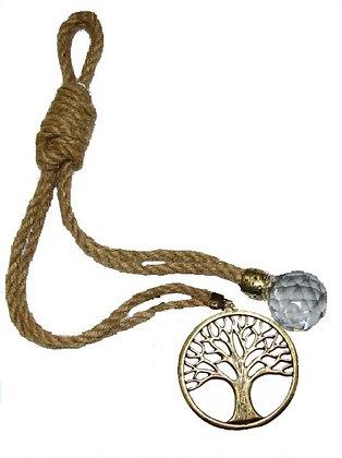 120.3019 - Γούρι 35cm Γιούτα Κορδόνι Με Δέντρο Ζωής Και Κρύσταλλο.