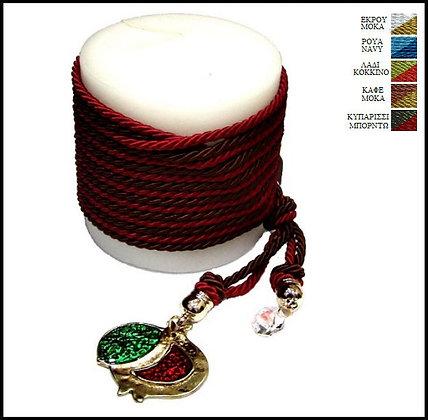 857.3033 - Κερί 9cm x 9cm Με Ρόδι, Κρύσταλλο Και Κορδόνια