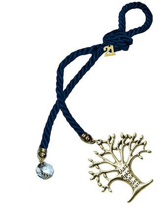 041.3011 - Γούρι 25cm Τρίκλωνο Κορδόνι Με Δέντρο Ζωής Και Κρύσταλλο