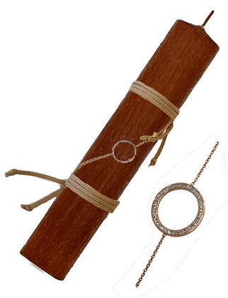 78.SB103 - Λαμπάδα Στρογγυλή Σαγρέ Με Ατσάλινο Βραχιόλι 22cm
