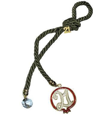 041.3181 - Γούρι 25cm Τρίκλωνο Κορδόνι Με Ρόδι Και Κρύσταλλο
