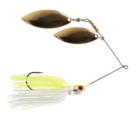Big Bass Spinnerbait Dbl Willow - Char/White Br/Br
