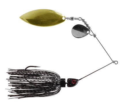 Big Bass Spinnerbait - Black & Silver Skirt Br/Ni