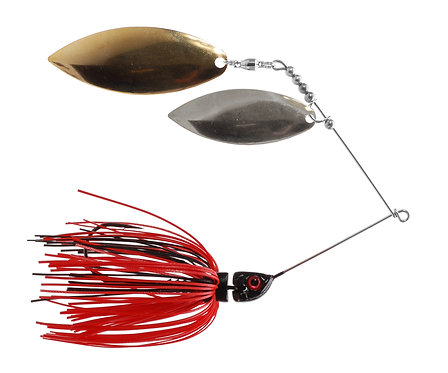 Big Bass Spinnerbait Dbl Willow - Black/Red Br/Ni