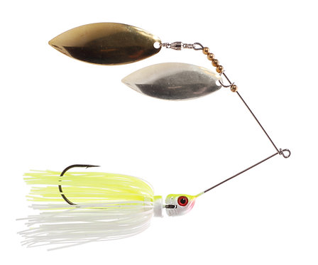Big Bass Spinnerbait Dbl Willow - Char/White Br/Ni