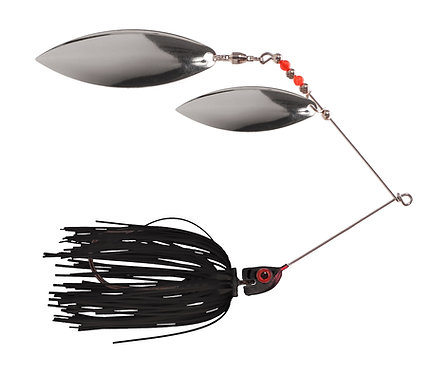 Big Bass Spinnerbait Dbl Willow - Black Ni/Ni