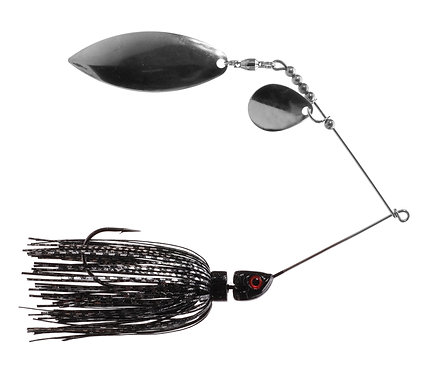 Big Bass Spinnerbait - Black & Silver Skirt Ni/Ni