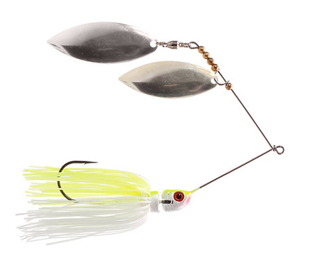 Big Bass Spinnerbait Dbl Willow - Char/White Ni/Ni