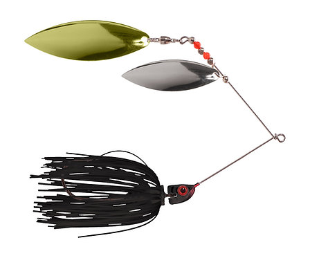Big Bass Spinnerbait Dbl Willow - Black Br/Ni