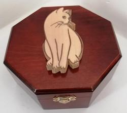 Cofre octogonal aplique gato