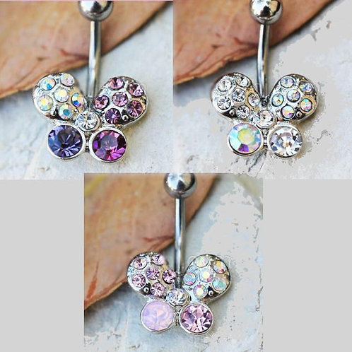 316L Stainless Steel Art of Brilliance Butterfly Gleam Navel Ring