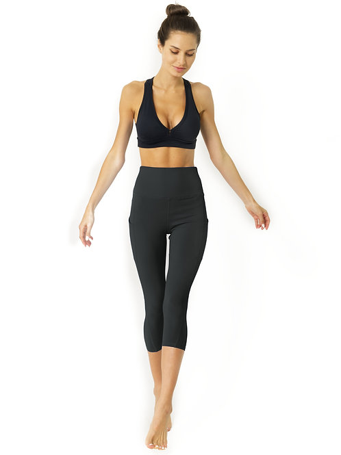 High Waisted Yoga Capri Leggings - Slate Grey