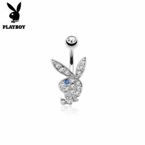 Playboy Bunny Belly Ring CZ Clear /Blue Eye