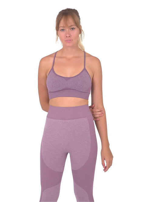 Megara Seamless Sports Bra With Striped Band - Purple