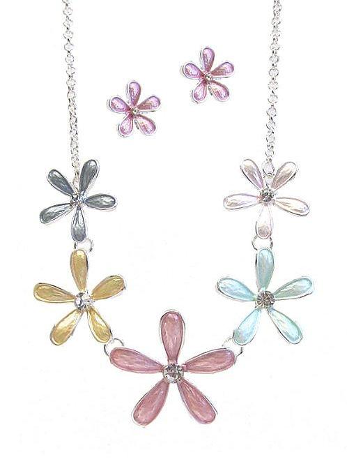 Multi Flower Link Necklace Set