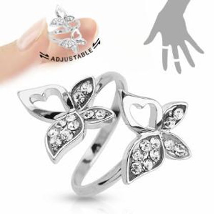 Adjustable Crystal Butterfly Ring