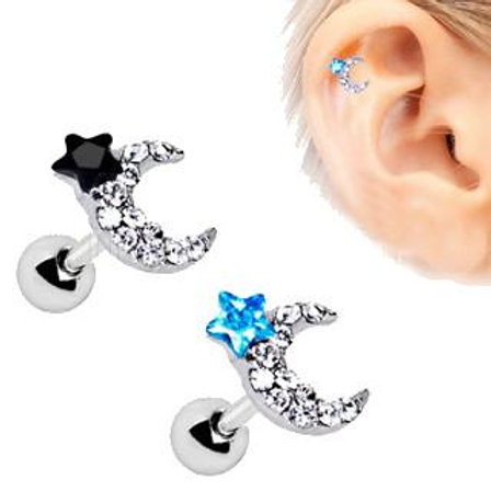 316L Stainless Steel Art of Brilliance to the Moon Cartilage Earring