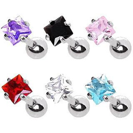 316L Surgical Steel Prong Set Square CZ Cartilage Earring
