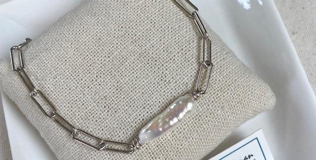 Pearl Bar Bracelet - silver
