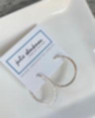 E5058 Silver hammered hoop post earrings