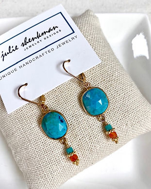 E5421 Turquoise round, with turquoise and carnelian dangle, 14K gold-fill leverback.jpg