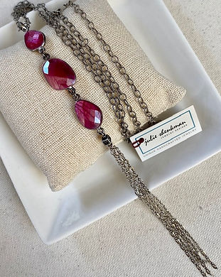 N5549 Maroon moonstone triple on sterling silver chain and tassel, square dangle with embe