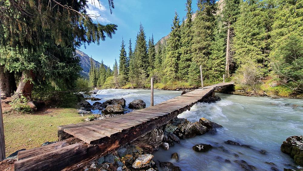 Holzbrücke über Fluss am Nadelwald, Symbolbild für Naturparke.