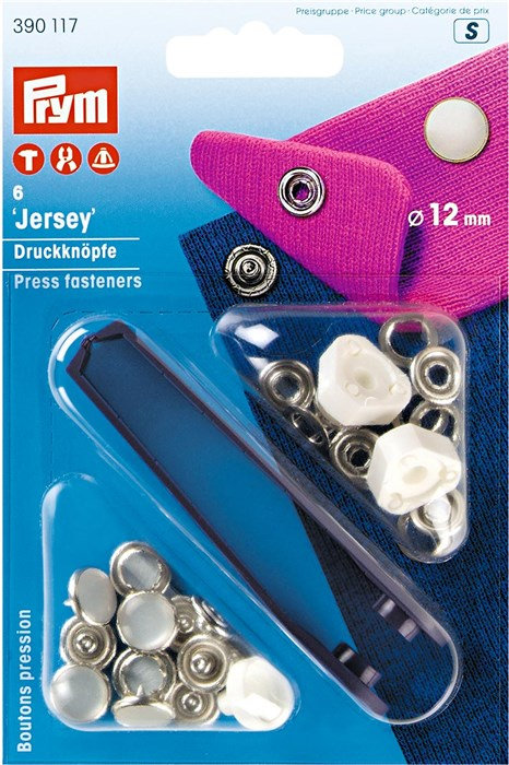 Boutons pression jersey 12mm blanc