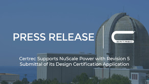 Certrec Supports NuScale Power with Revision 5 Submittal of its Design Certification Application