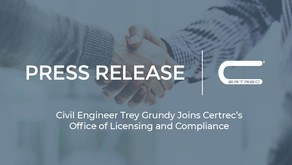 Civil Engineer Trey Grundy Joins Certrec's Office of Licensing and Compliance