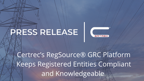 Certrec's RegSource® GRC Platform Keeps Registered Entities Compliant and Knowledgeable