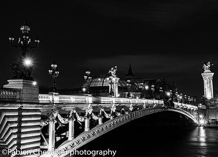 photographie noir et blanc du pont Alexandre 3 et du grand palais la nuit