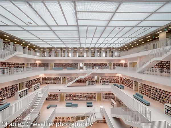 photo d'art de la bibliothèque blanche de stuttgart