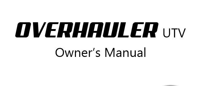 OverhaulerUTV - Owner's Manual