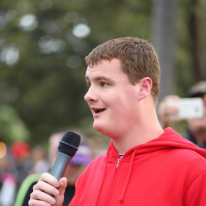 musician with autism singing star spangled banner