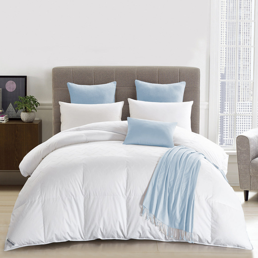 white baffle box super luxury Eiderdown comforter on a bed