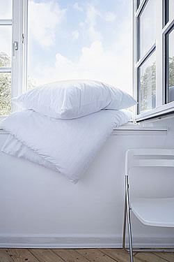 Down comforter & down pillow on windowsill with windows open on dry sunny warm day to air.
