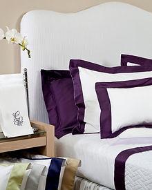 Italian cotton sateen 300 threads white bordered in purple