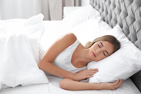 Beautiful teen girl sleeping with comfor