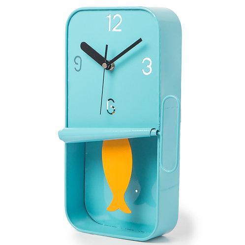 Blue Metal Sardine Tin Pendulum Wall Clock