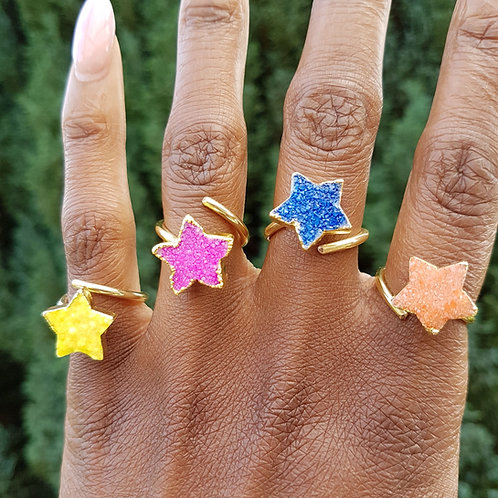 Colourful star druzy stone rings –  yellow (Limited Edition)