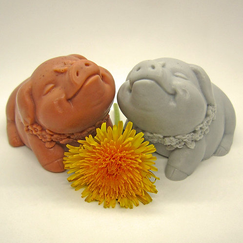 Pair of Little Pig Soaps (Pink & Grey)