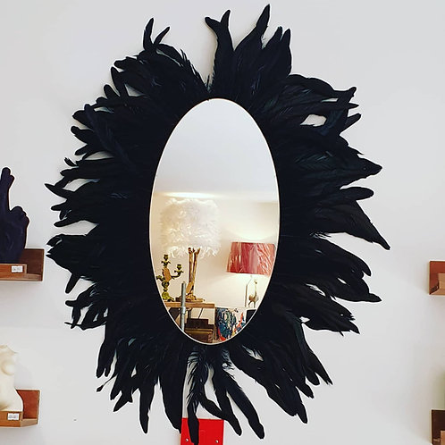 Large feathered wall mirror