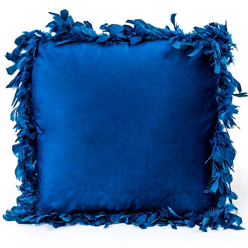 NAVY BLUE FEATHER EDGED SQUARE VELVET CUSHION