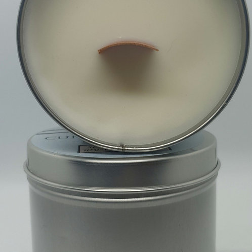 Large Handpoured Soy Wooden Wick Bergamot Tin Candle