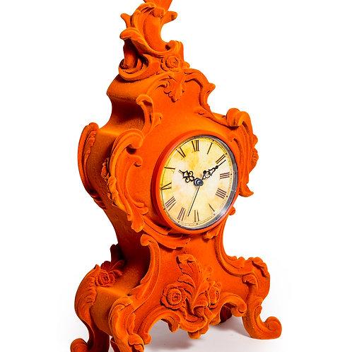 Orange Flock Mantel Clock