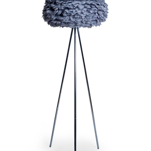 CHROME TRIPOD FLOOR LAMP WITH GREY FEATHER SHADE