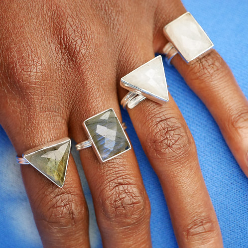 YYL LUXE Sterling Silver Moonstone Rings – Fully Adjustable