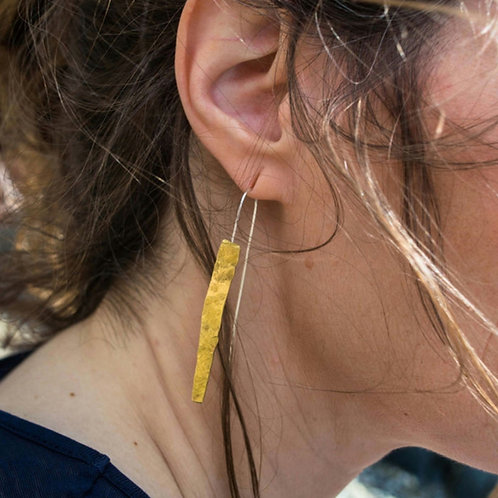 Small Hammered Brass Shard Earings